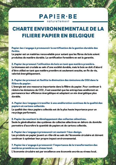 CHARTE ENVIRONNEMENTALE DE LA FILIÈRE BELGE DU PAPIER